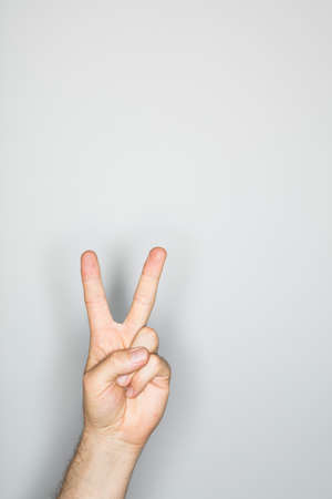 one item: isolated hand with victory sign,  photographed with ring flash