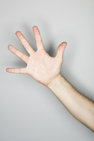 hand gesture: isolated hand gesture, photographed with ring flash