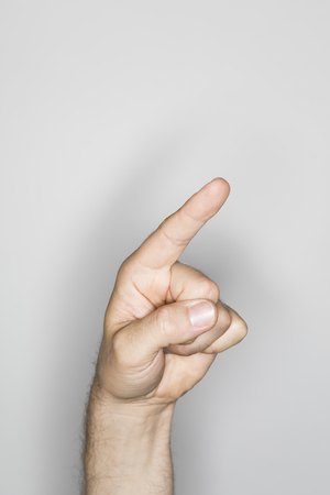 ring flash: isolated male hand, photographed in the studio
