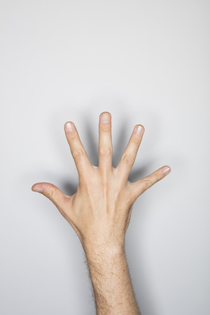 grasp: human hand isolated in the studio
