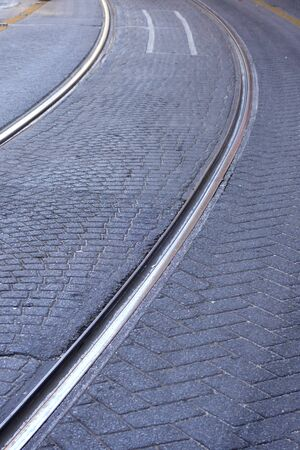 curvy: Detail of old railroad tracks curvy Stock Photo