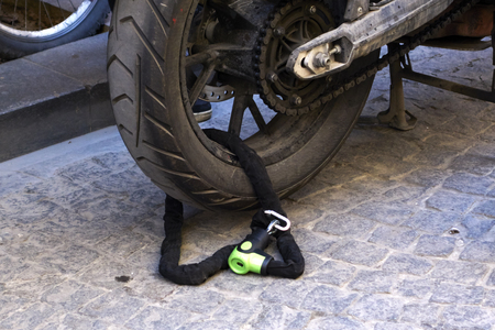 locked: Motorcycle wheel locked