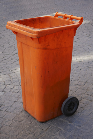 plastic waste: Orange Plastic Waste Container Our Wheelie Bin