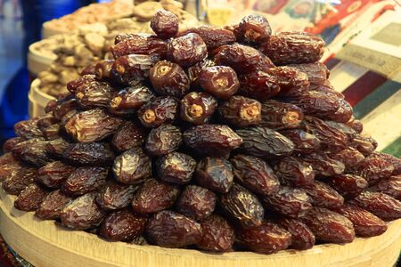 Dates in basket, selective focus