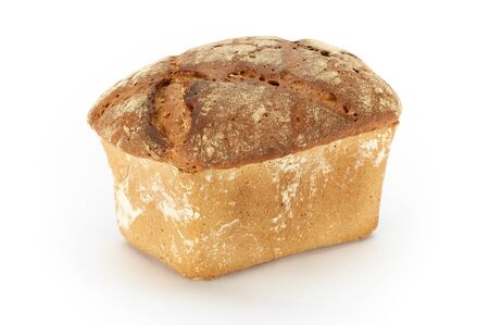 Traditional rural rye bread, whole on a white background, studio photo