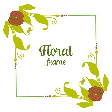 illustration  green leafy floral frame