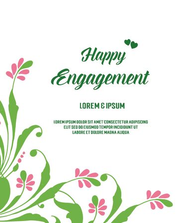 Illustration of happy engagement text with floral border frame