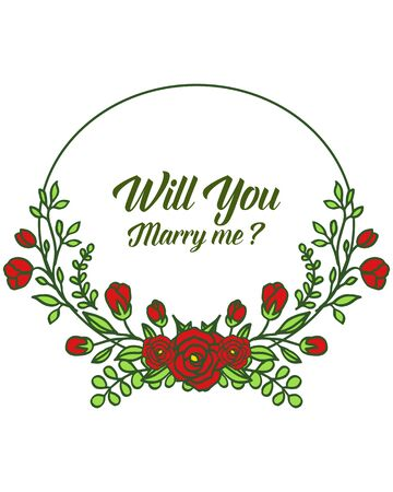 Illustration of will you marry me lettering with red floral frame design