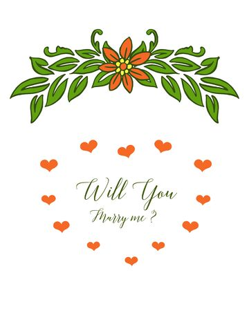 Illustration of will you marry me lettering with floral design