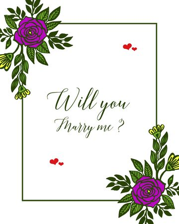 Illustration of will you marry me lettering with purple floral frame design