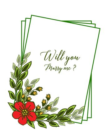 Illustration of will you marry me lettering with floral frame design Vectores