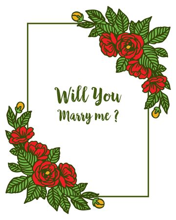 Illustration of will you marry me lettering with floral frame design