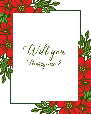 Illustration of will you marry me lettering with floral border design