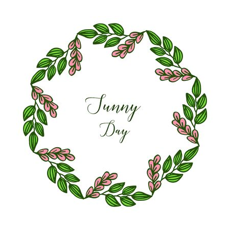 Sunny day text with floral frame Vector Illustration