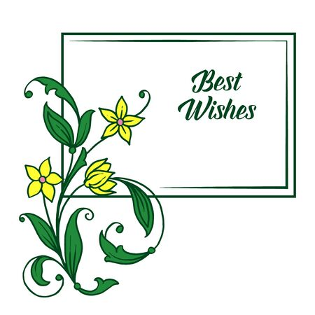 Best wishes greeting with floral design Vettoriali