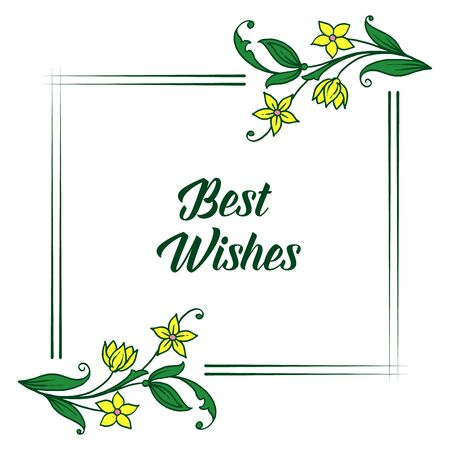 Best wishes greeting with yellow floral frame design Vettoriali