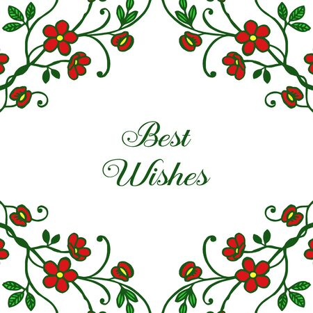 Best wishes greeting with red floral frame