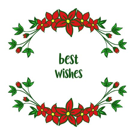 Illustration of best wishes lettering with red floral frame