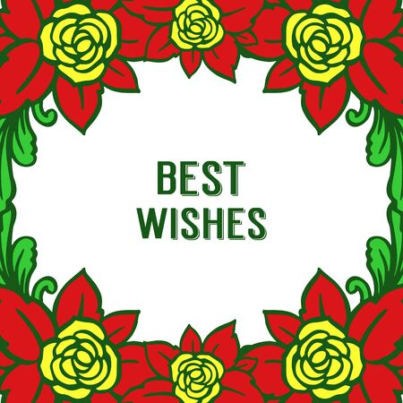 Illustration of best wishes lettering with  floral frame