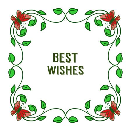 Illustration of best wishes lettering with red butterflies and floral frame