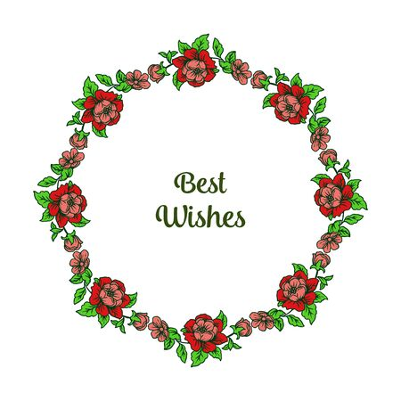 Illustration of best wishes lettering with floral frame Vettoriali