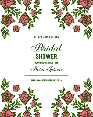 Invitation template for a bridal shower with floral elements