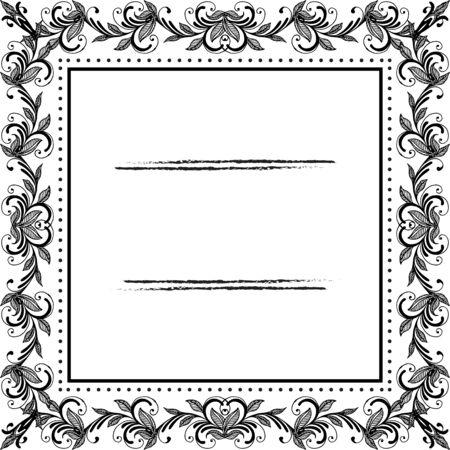 Illustraton of floral frame Ilustración de vector