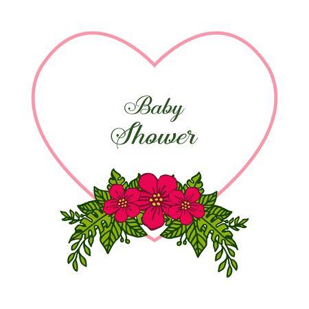 Baby shower invitation card with heart-shaped floral frame Ilustração