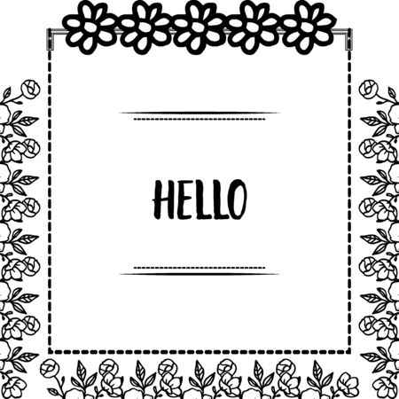 Hello greeting with floral frame