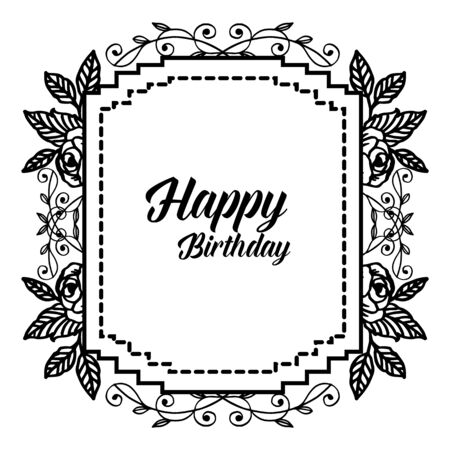 Birthday card with floral frame
