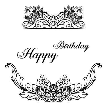 Carte d'anniversaire avec cadre floral