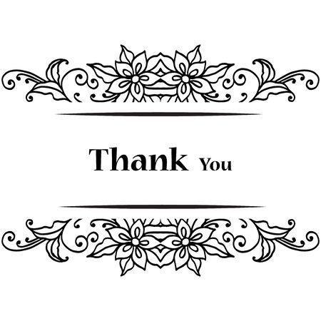 Thank you card with floral design Ilustracje wektorowe