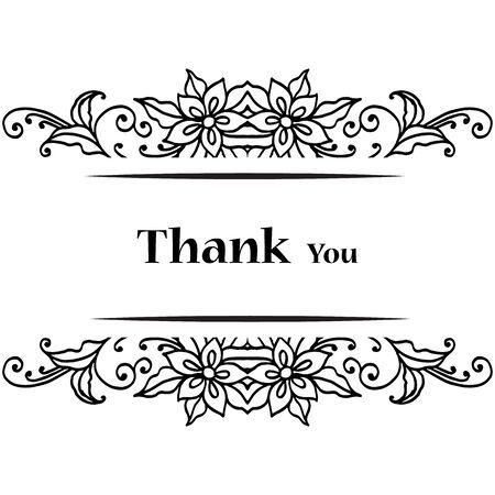 Thank you card with floral design Vektoros illusztráció
