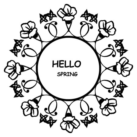 Hello Spring lettering with floral wreath frame