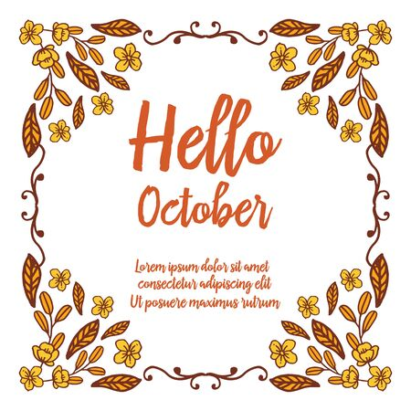Hello October text with floral frame