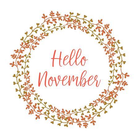 Bonjour lettrage de novembre avec cadre de couronne de feuillage