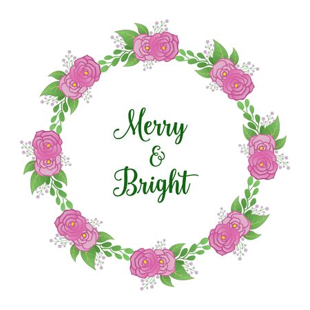 Merry and bright lettering with pink rose flower wreath frame Ilustración de vector