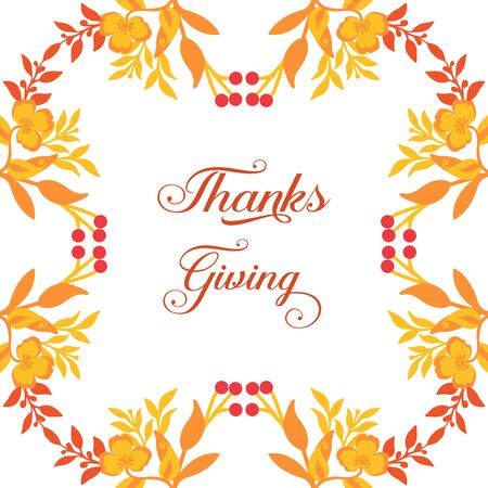 Thanksgiving card template with floral frame