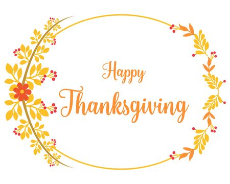 Thanksgiving card template with floral frame Vector Illustratie