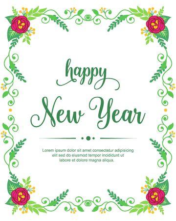 Happy new year wish with floral frame design Ilustração Vetorial