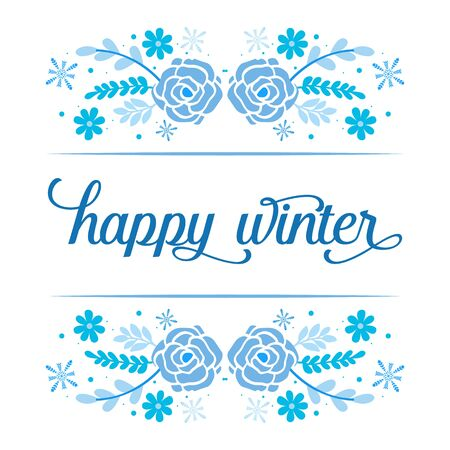 Happy Winter lettering with blue floral frame