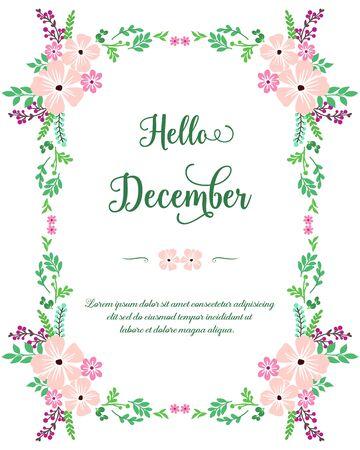 花のフレームとこんにちは12月のレタリング