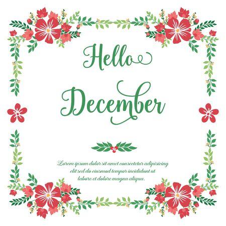 Bonjour lettrage de décembre avec cadre floral rouge
