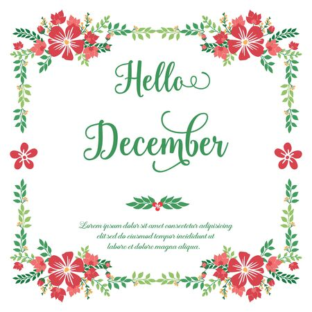 Hello December lettering with red floral frame