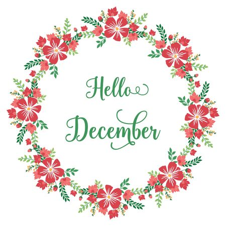 Hello December lettering with floral wreath frame