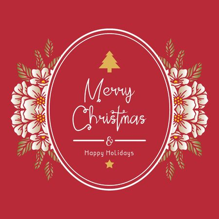 Merry Christmas and Happy Holidays text with floral frame Vector Illustratie