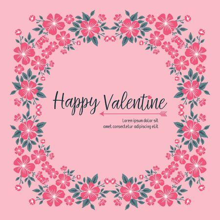 Modèle de carte de Saint Valentin avec cadre floral