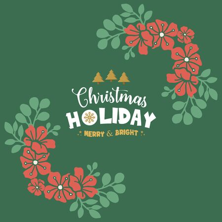 Seamless border of green leafy flower frame, for text of christmas holiday. Vector illustration
