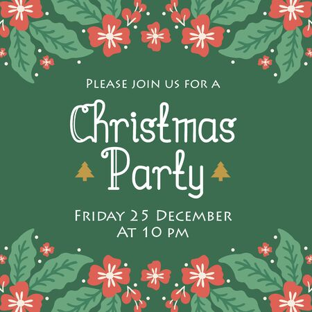 Poster template of christmas party, with ornament green leafy flower frame. Vector illustration 向量圖像