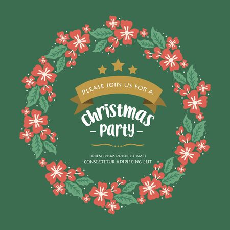 Handwritten banner of christmas party, with decor element green leafy flower frame. Vector illustration